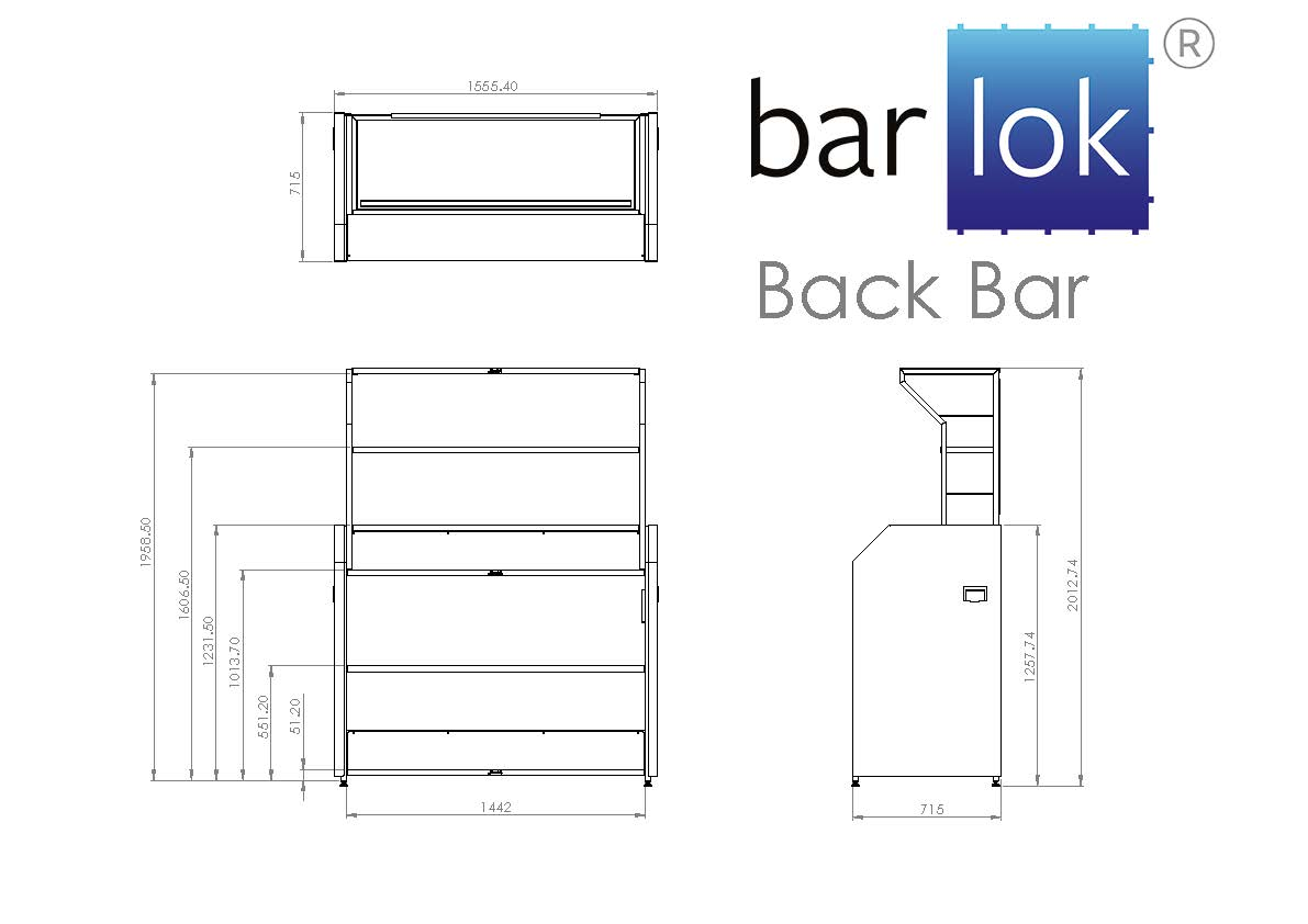 Barlok® Back Bar Line Drawing